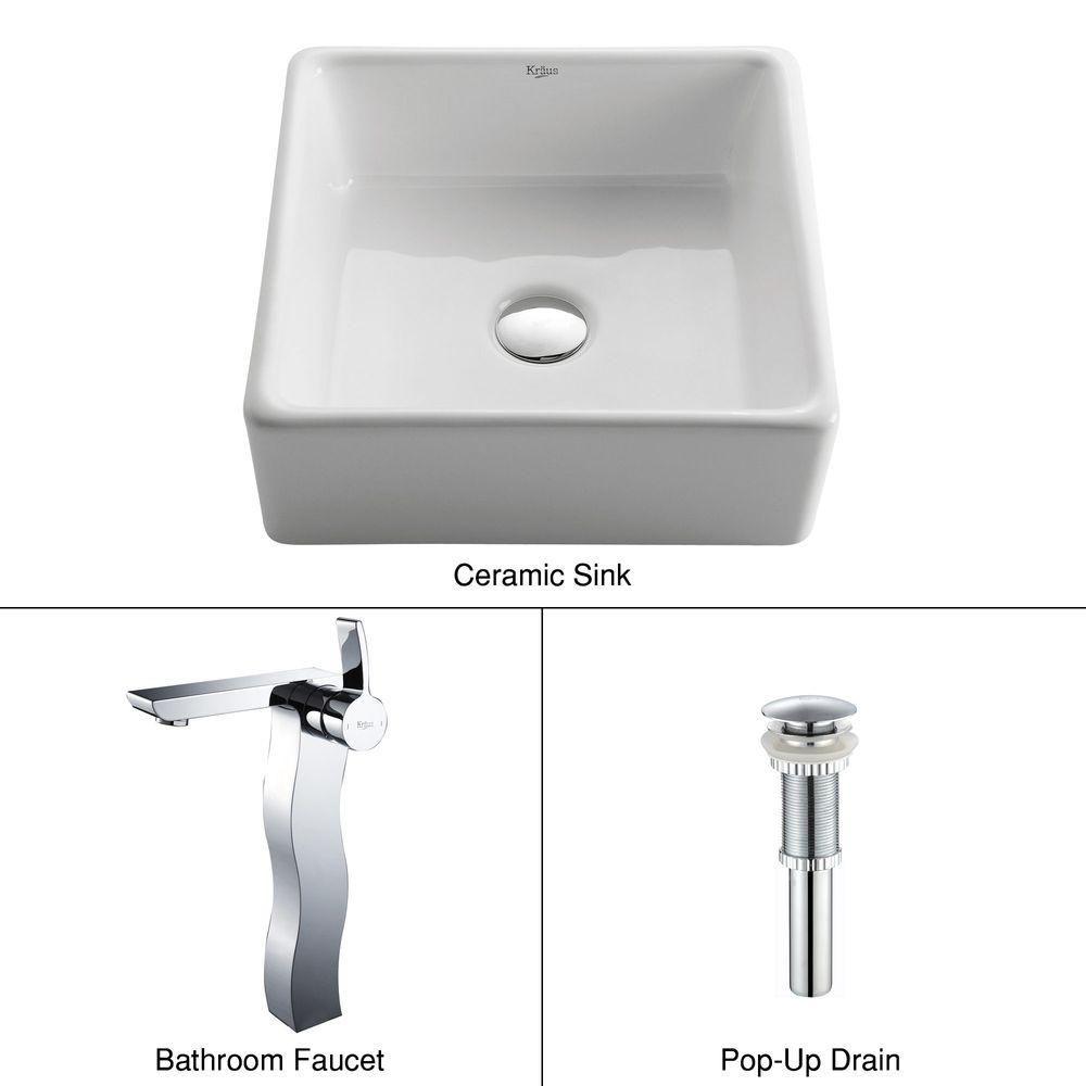 Lavabo carré blanc en céramique avec robinet Sonus, chrome