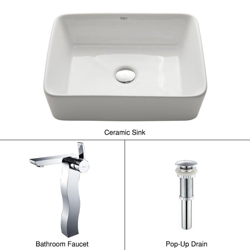 Rectangular Ceramic Vessel Sink in White with Sonus Faucet in Chrome