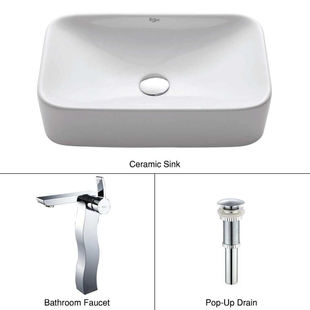 Rectangular Ceramic Vessel Sink in White with Sonus Faucet in Chrome