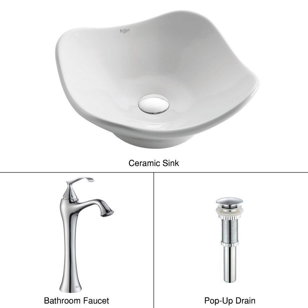 Tulip Ceramic Vessel Sink in White with Ventus Faucet in Chrome