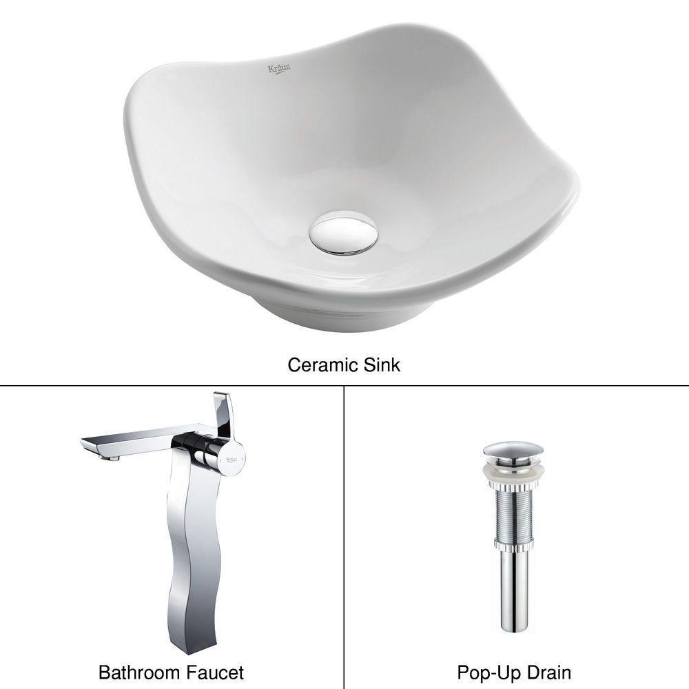 Tulip Ceramic Vessel Sink in White with Sonus Faucet in Chrome