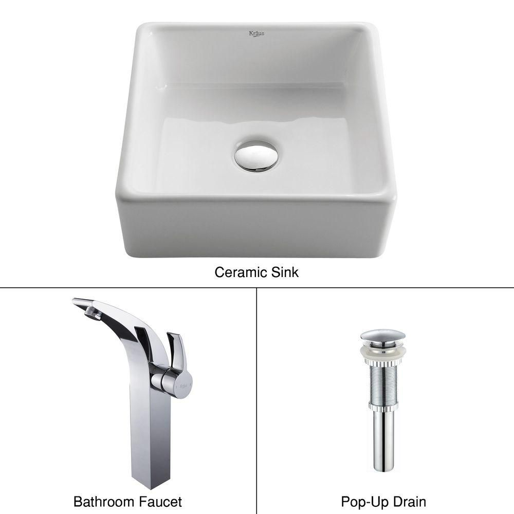 Square Ceramic Sink in White with Illusio Faucet in Chrome