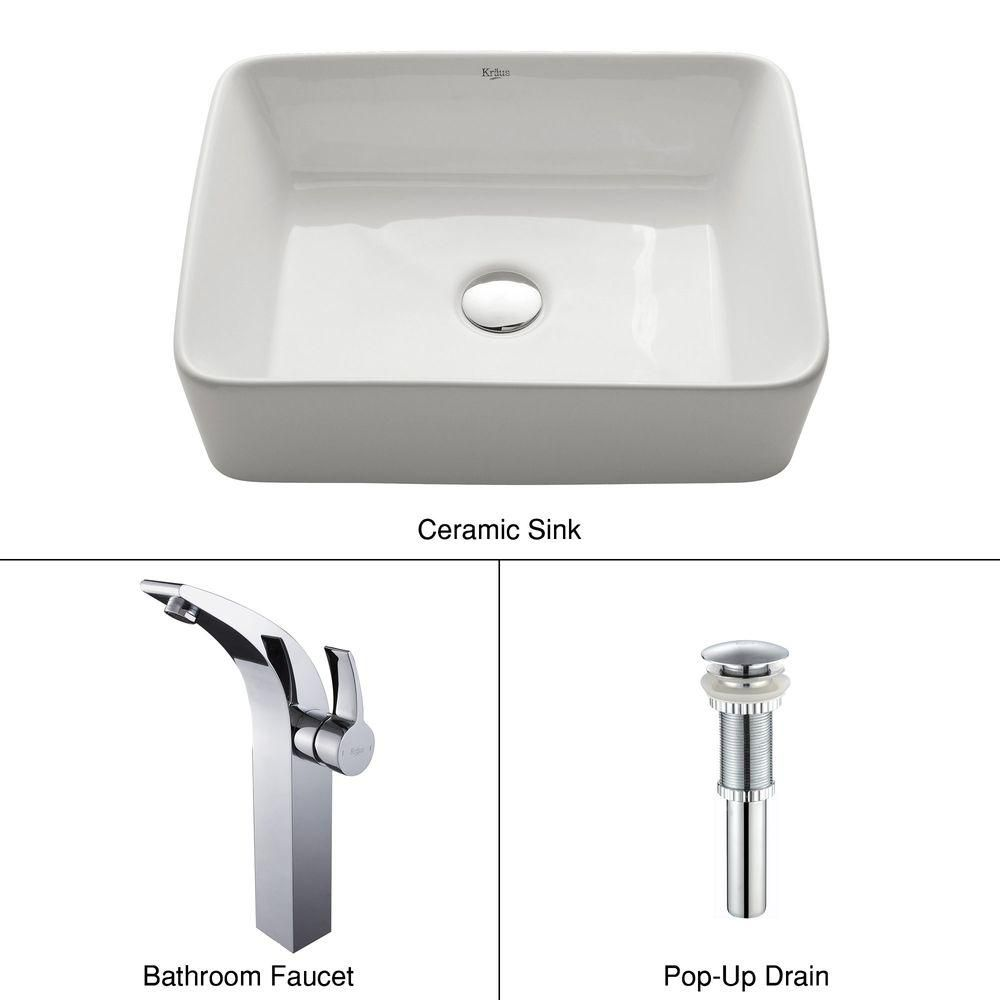 Rectangular Ceramic Vessel Sink in White with Illusio Faucet in Chrome