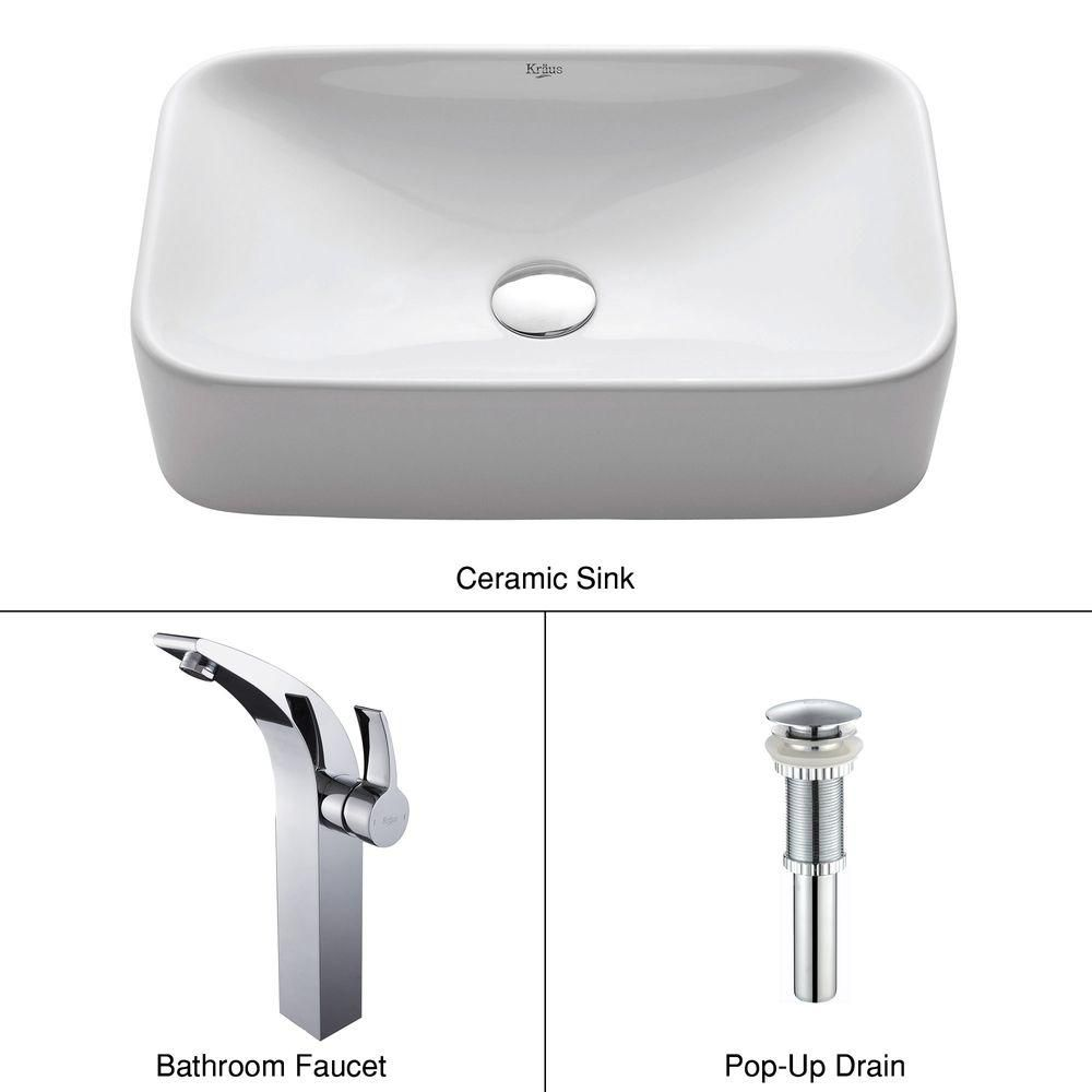 Rectangular Ceramic Vessel Sink in White with Illusio Faucet in Chrome