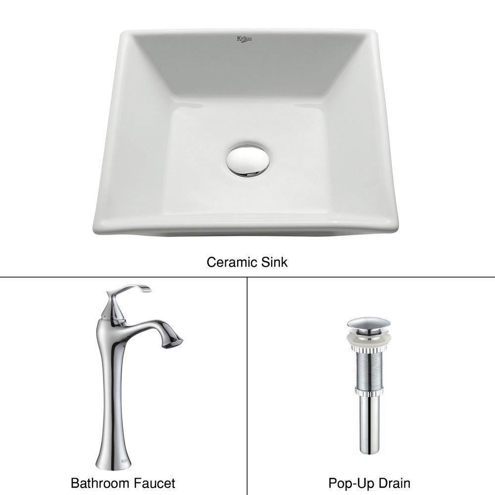 Lavabo carré blanc en céramique avec robinet Ventus, chrome
