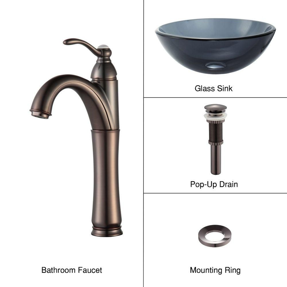 14-inch Clear Glass Vessel Sink in Black with Riviera Faucet in Oil-Rubbed Bronze
