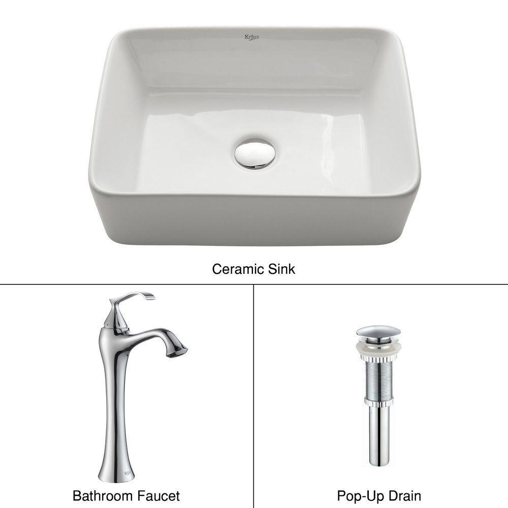 Rectangular Ceramic Vessel Sink in White with Ventus Faucet in Chrome