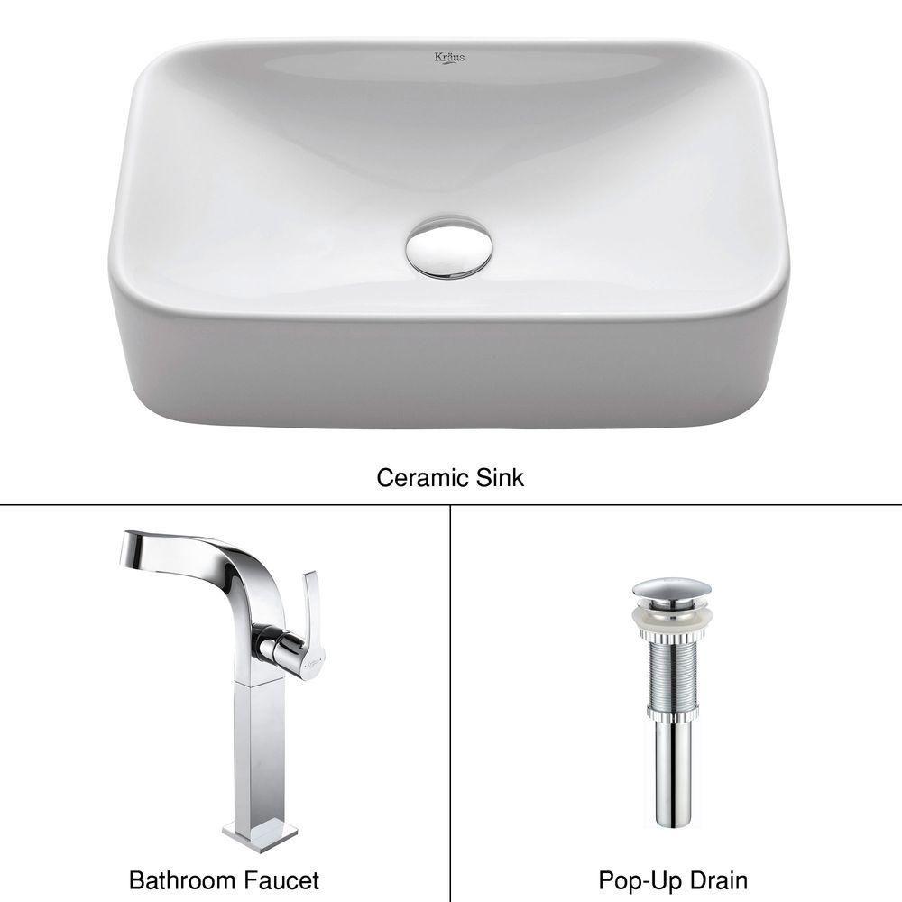 Lavabo rectangulaire blanc en céramique avec robinet Unicus, chrome