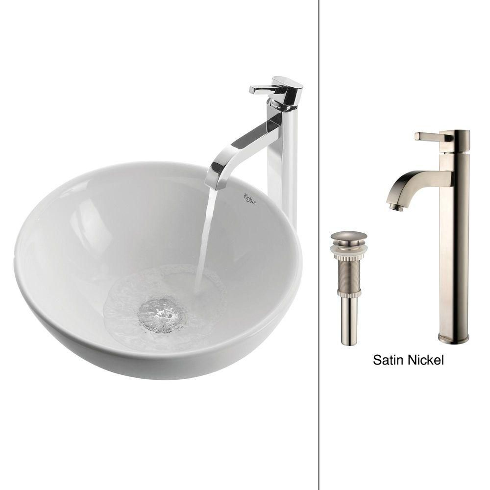 Kraus 16-inch x 12.50-inch x 16-inch Circular Ceramic Bathroom Sink with Ramus Faucet in Satin Nickel