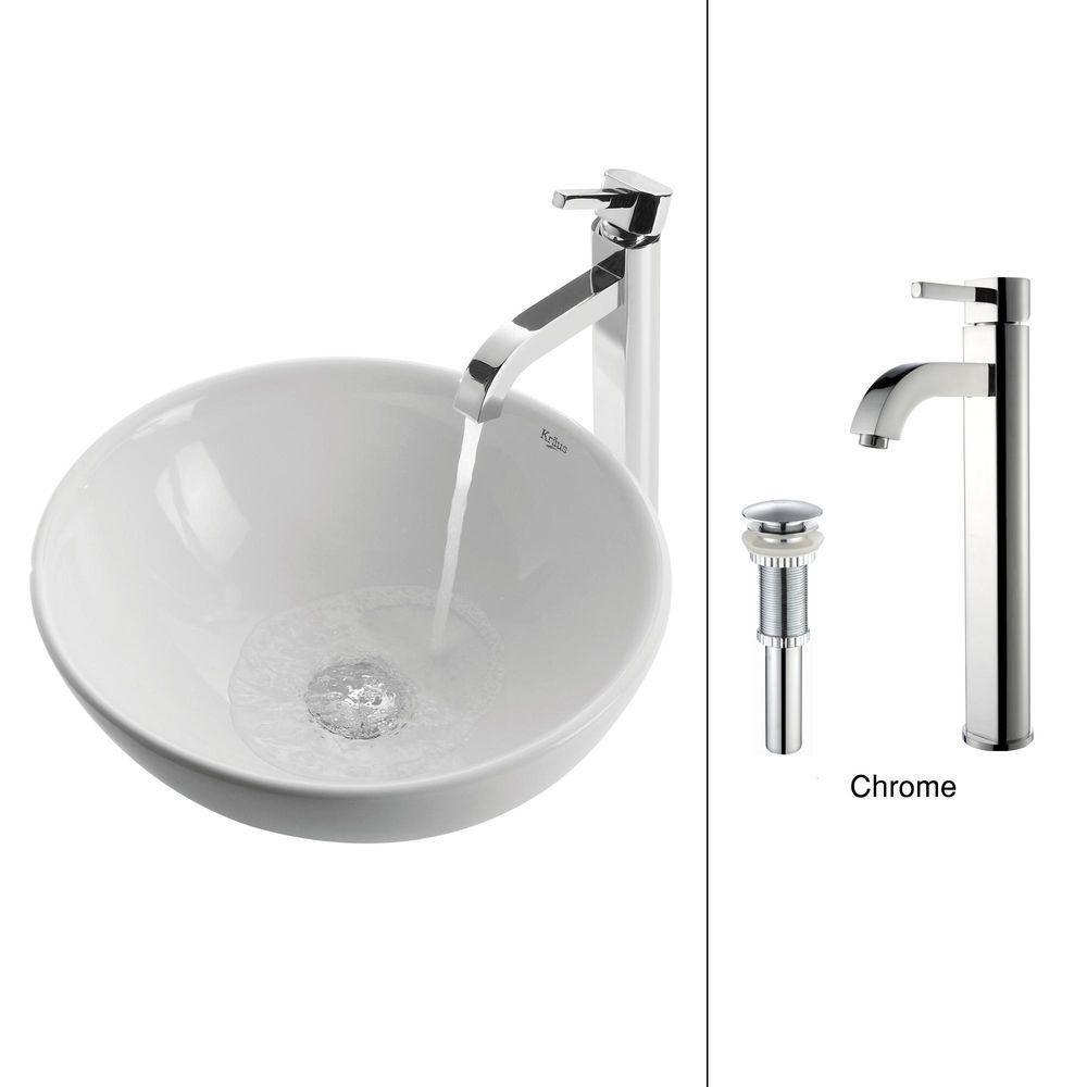 Lavabo rond blanc en céramique avec robinet Ramus, chrome