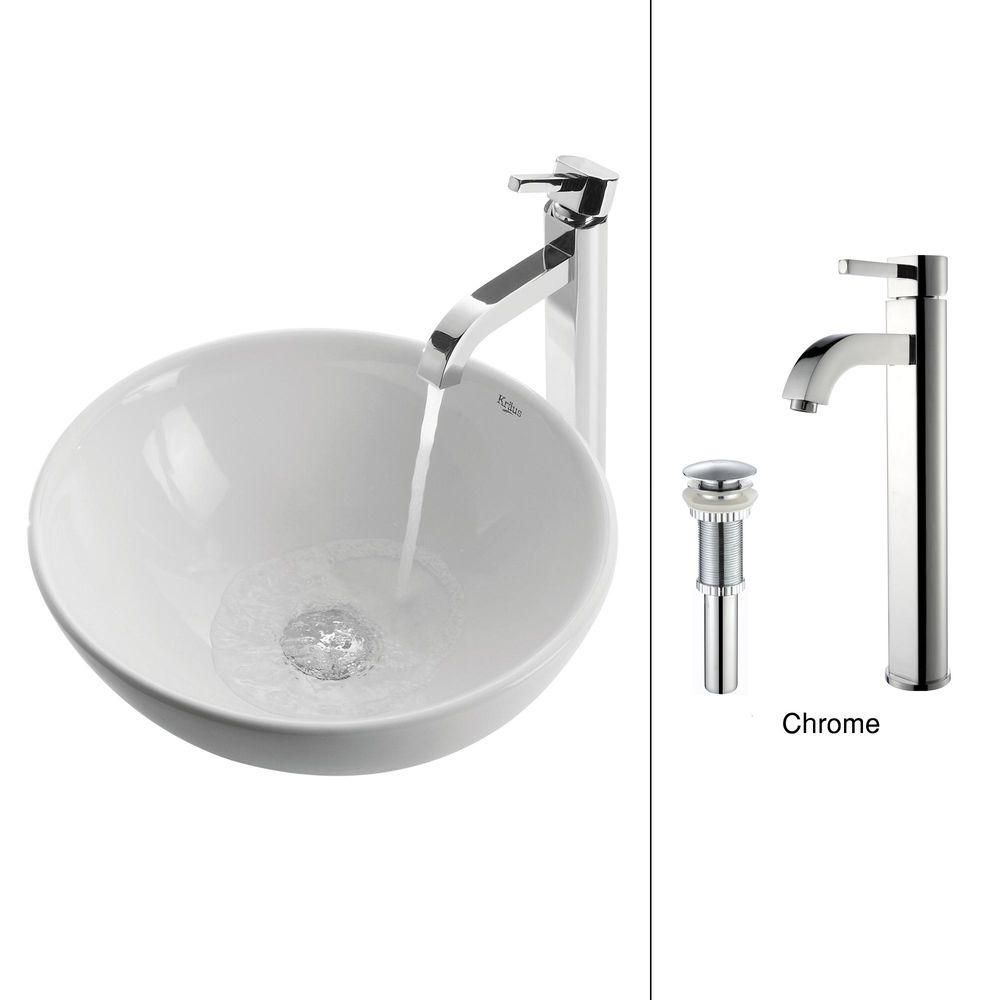 Kraus 16-inch x 12.50-inch x 16-inch 1-Hole Circular Ceramic Bathroom Sink with Ramus Faucet in Chrome