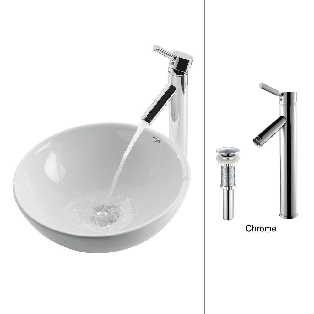 Lavabo rond blanc en céramique avec robinet Sheven, chrome