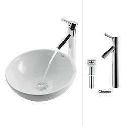 Kraus Lavabo rond blanc en céramique avec robinet Sheven, chrome
