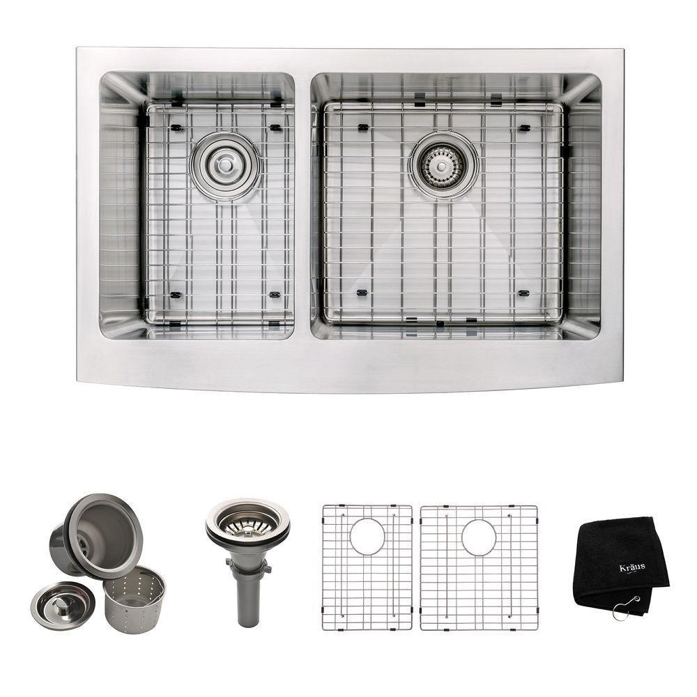 Évier de cuisine à tablier Farmhouse en acier inoxydable calibre 16 de 83,8 cm (33 po) à cuve dou...