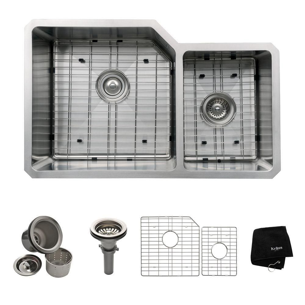 32 Inch Undermount 60/40 Double Bowl 16 gauge Stainless Steel Kitchen Sink