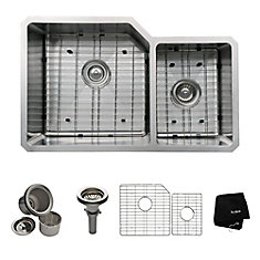 32 Inch Undermount 60/40 Double Bowl 16 gauge Stainless Steel Kitchen Sink
