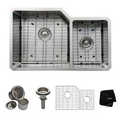 Kraus Évier de cuisine sous comptoir en acier inoxydable calibre 16 de 81,3 cm (32 po) à cuve double 60/40