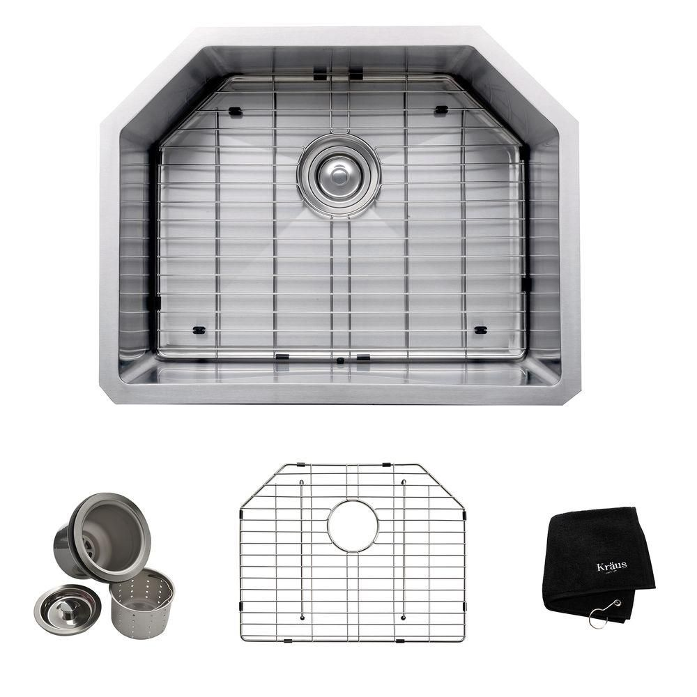 Évier de cuisine sous comptoir en acier inoxydable calibre 16 de 58,4 cm (23 po) à cuve unique