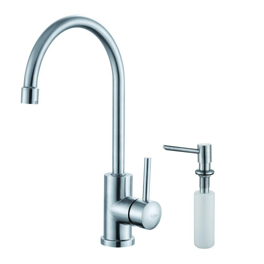 Single Lever Stainless Steel Kitchen Faucet and Soap Dispenser