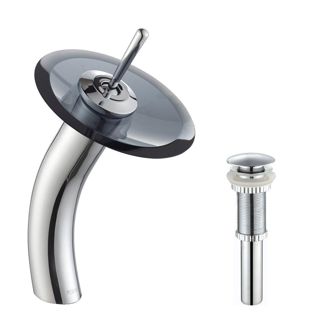 Single Lever Vessel Glass Waterfall Faucet Chrome with Black Clear Glass Disk and Matching Pop Up Drain KGW-1700-PU-10CH-BLCL Canada Discount