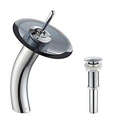 Lavabo-vasque en verre avec robinet à cascade à levier simple, chrome, avec disque en verre noir transparent et drain escamotable assorti