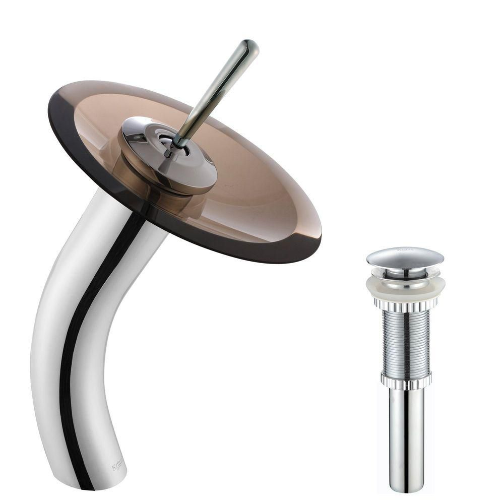 Single-Lever Vessel Waterfall Bathroom Faucet with Matching Pop-Up Drain in Chrome