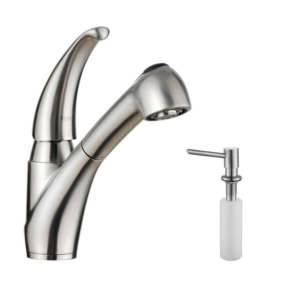 Single Lever Stainless Steel Pull Out Kitchen Faucet and Soap Dispenser
