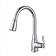 Single-Handle Stainless Steel High Arch Kitchen Faucet w/Pull Down Dual-Function Sprayer in Chrome