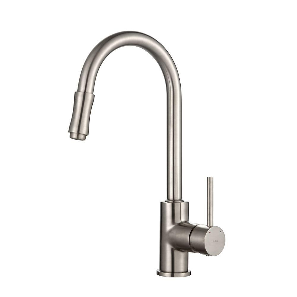 Single Lever Pull Out Kitchen Faucet Satin Nickel KPF-1622SN in Canada