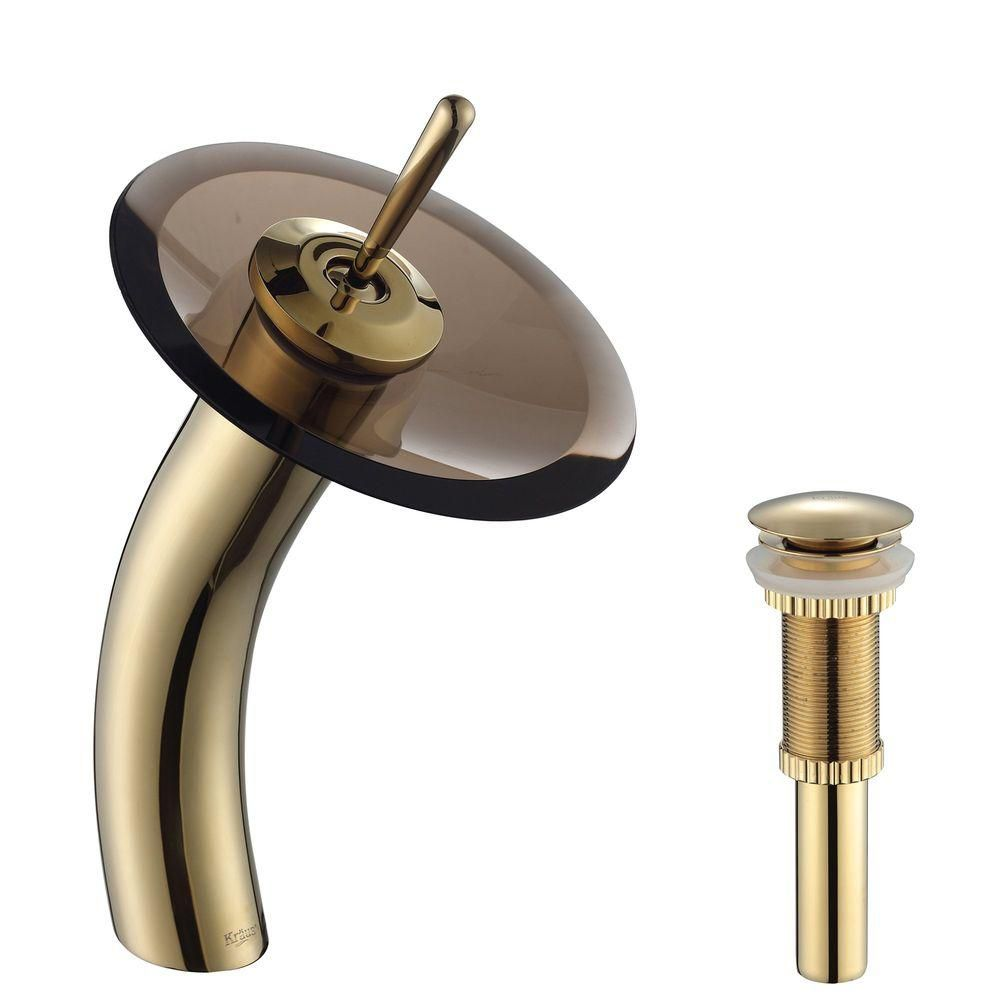 Single Lever Vessel Glass Waterfall Faucet Gold with Brown Clear Glass Disk and Matching Pop Up Drain KGW-1700-PU-10G-BRCL in Canada