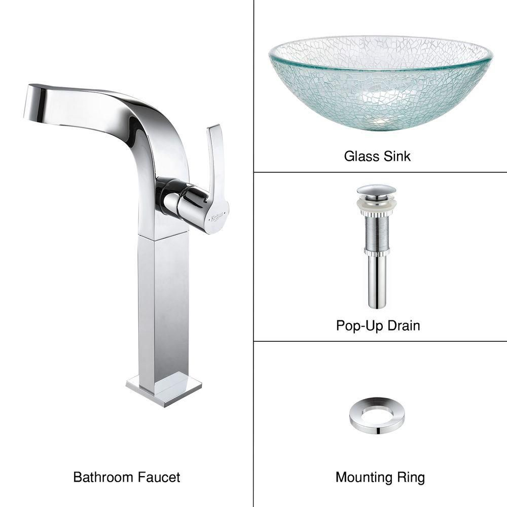 Kraus Mosaic Glass Vessel Sink and Typhon Faucet Chrome The Home ...