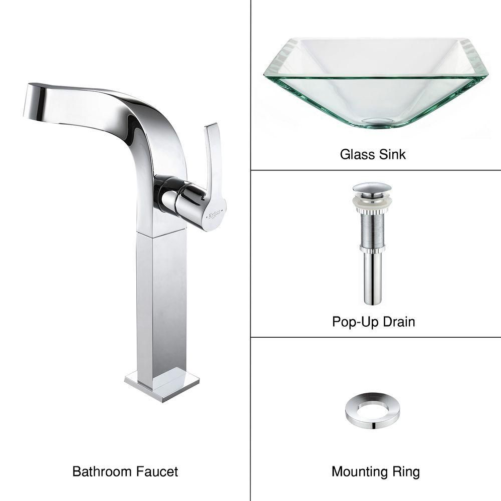 Clear Glass Vessel Sink in Aquamarine with Typhon Faucet in Chrome
