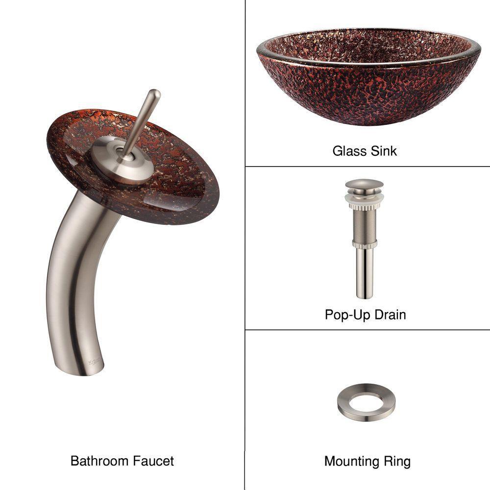 Lavabo-vasque en verre Venus et robinet à cascade, nickel satiné