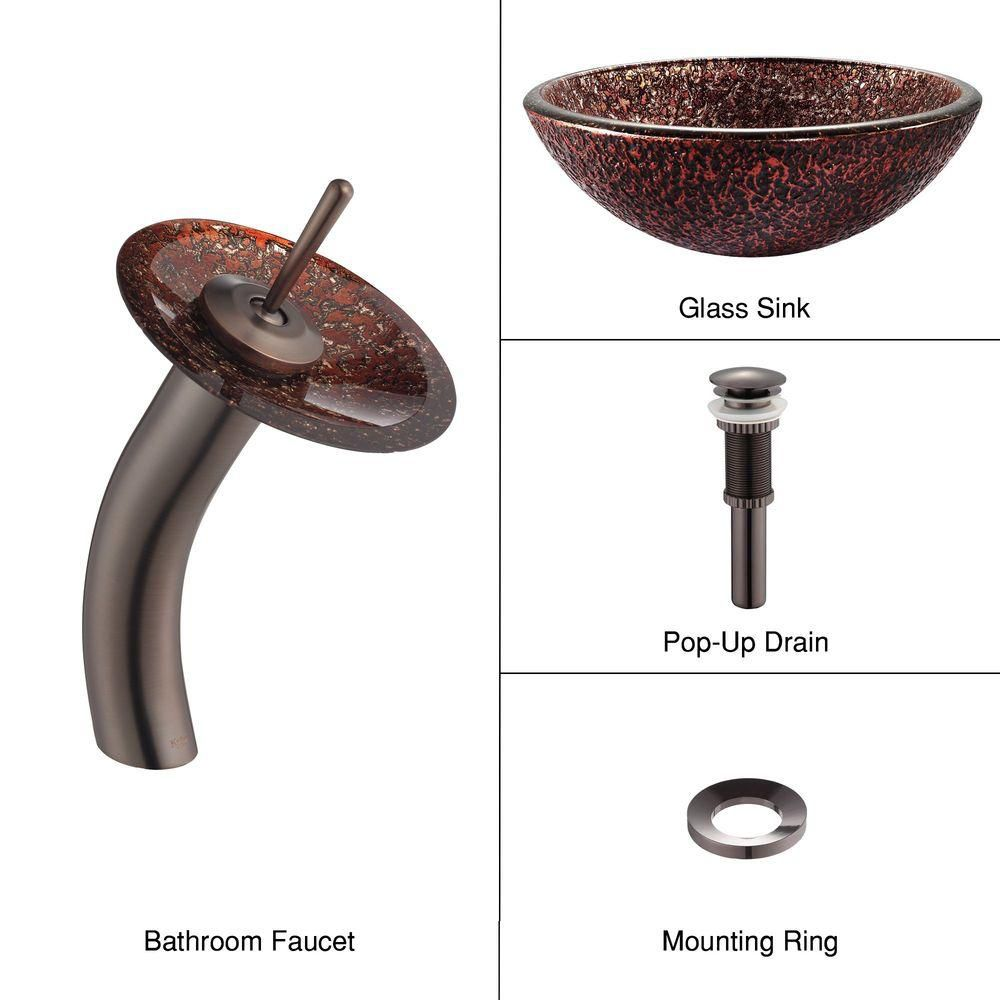 Venus Glass Vessel Sink with Waterfall Faucet in Oil-Rubbed Bronze