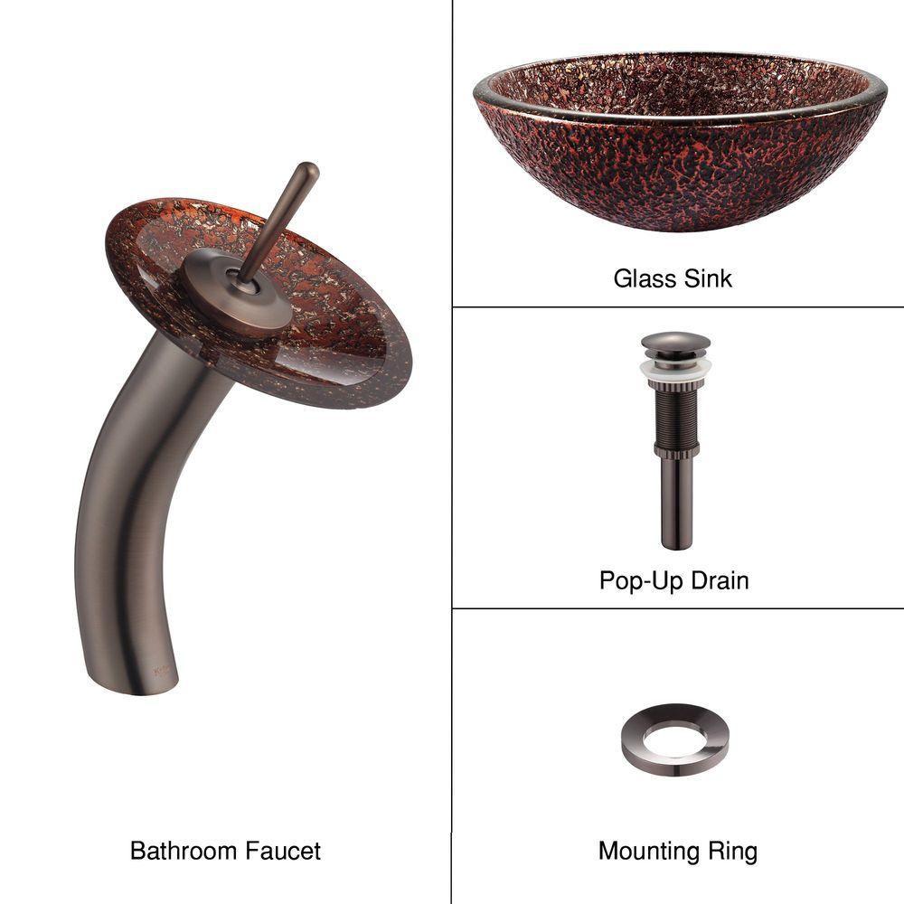 Lavabo-vasque en verre Venus et robinet à cascade, bronze huilé