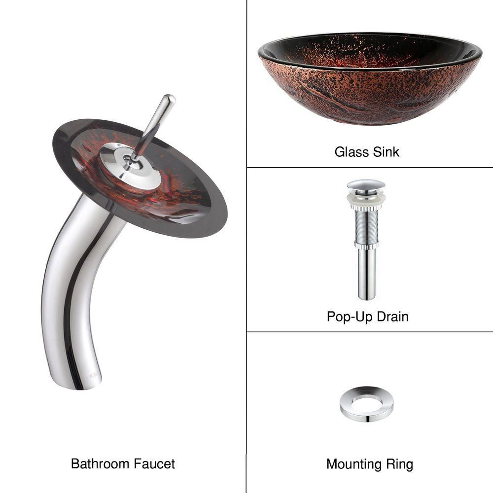 Lava Glass Vessel Sink with Waterfall Faucet in Chrome