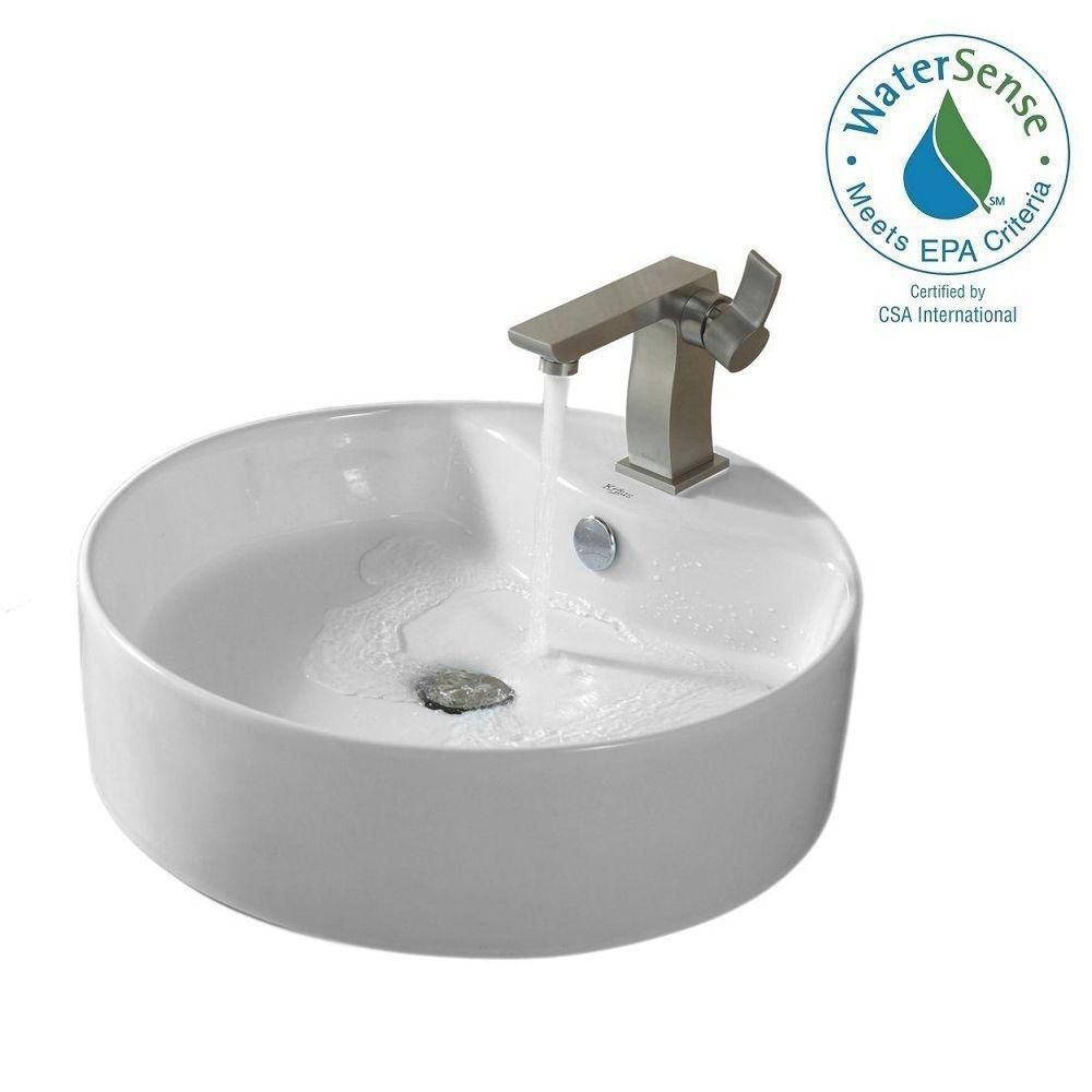 Round Ceramic Sink in White with Sonus Basin Faucet in Brushed Nickel