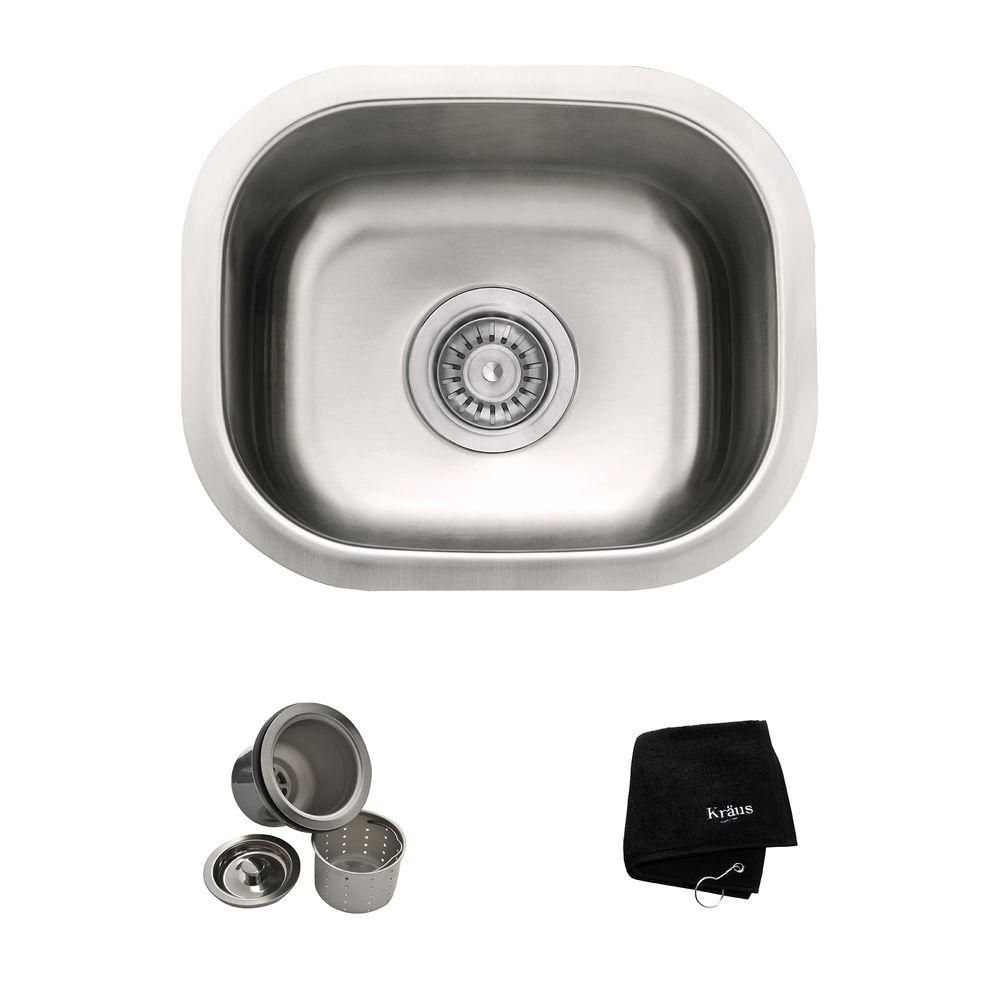 15 Inch Undermount Single Bowl 18 gauge Stainless Steel Kitchen Sink