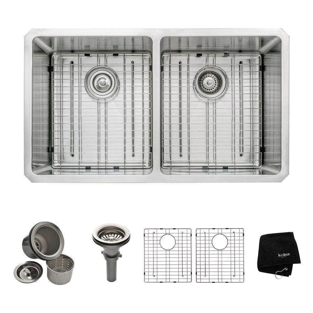 Évier de cuisine sous comptoir en acier inoxydable calibre 16 de 83,8 cm (33 po) à cuve double 50...