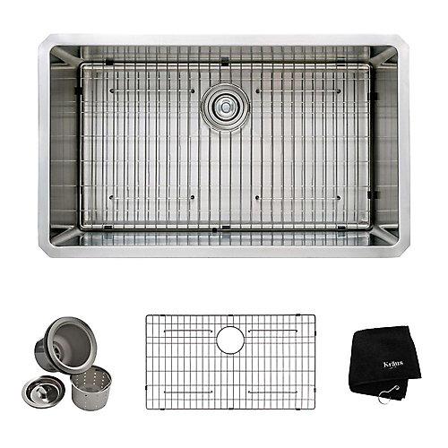 Évier de cuisine sous comptoir en acier inoxydable calibre 16 de 81,3 cm (32 po) à cuve unique