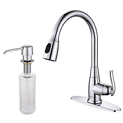 Kraus Single-H≤ SS High Arch Kitchen Faucet w/Pull Down Dual ...