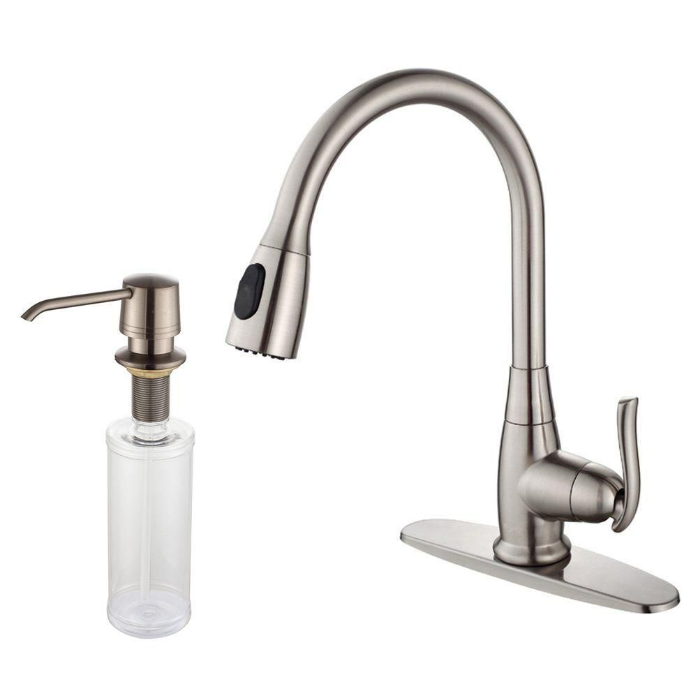 Single Lever Pull Out Kitchen Faucet and Soap Dispenser Satin Nickel