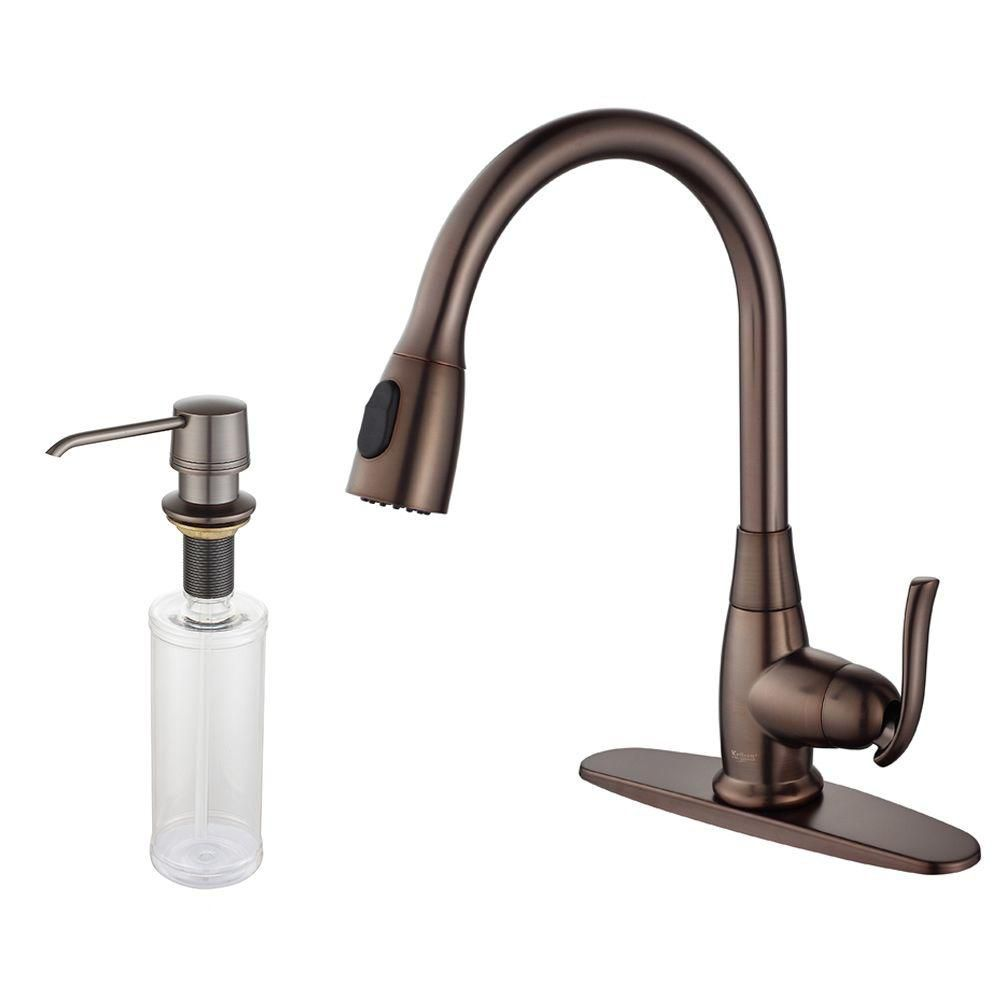 Single Lever Pull Out Kitchen Faucet and Soap Dispenser Oil Rubbed Bronze