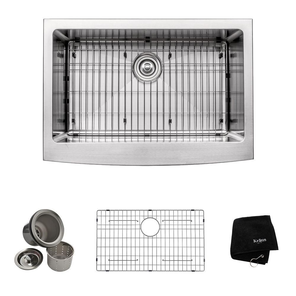 30 Inch Farmhouse Apron Single Bowl 16 gauge Stainless Steel Kitchen Sink KHF200-30 Canada Discount