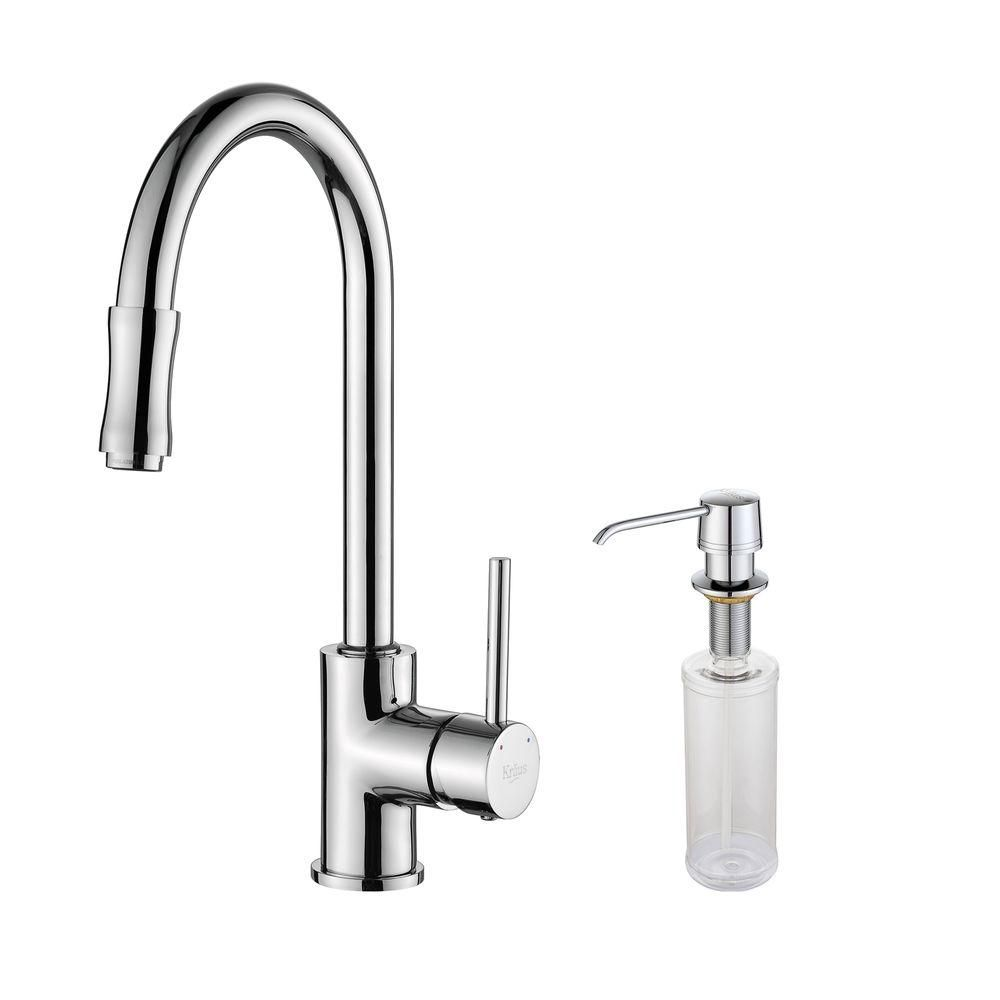Single Lever Pull Out Kitchen Faucet and Soap Dispenser Chrome