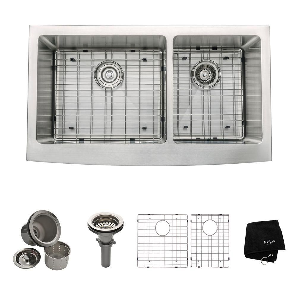 Kraus Farmhouse Apron Front Stainless Steel 36-inch Double Bowl Kitchen Sink Kit