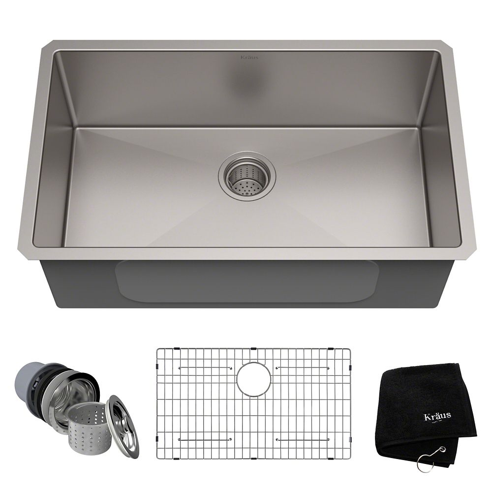 30 Inch Undermount Single Bowl 16 gauge Stainless Steel Kitchen Sink