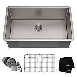 Kraus 30-inch Single Bowl Undermount Kitchen Sink in 16 Gauge Stainless Steel