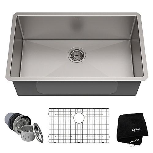 Évier de cuisine sous comptoir en acier inoxydable calibre 16 de 76,2 cm (30 po) à cuve unique