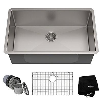 Kraus 30-inch Single Bowl Undermount Kitchen Sink in 16 Gauge ...